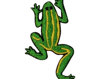 ID 0018C Green Frog w/ Yellow Stripes Embroidered Iron On Applique Patch