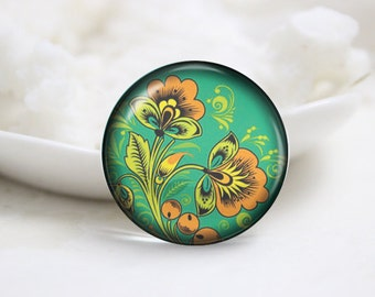 Handmade Round Glass Photo Cabochons Image Glass Cover-Flower (P3059)