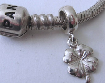 Genuine SOLID 925 STERLING SILVER Charm Bead with Four Leaf Clover drop