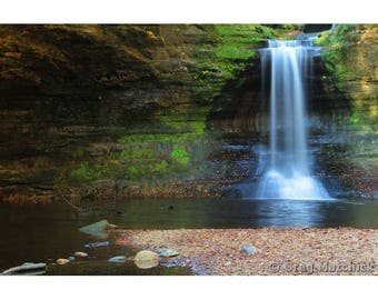 """Fine Art Color Landscape Nature Photography of Waterfall at Matthiessen State Park in Illinois - """"Cascade Falls 1"""""""
