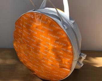 Insulated LANCASTER handbag Orange & white + slung Vintage