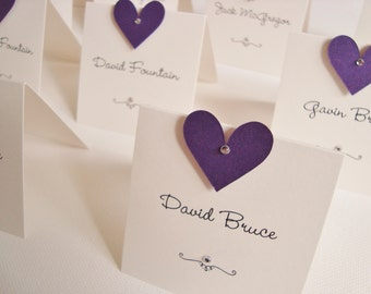 Personalised Handmade Diamanté/Pearl Heart Wedding Place Cards (Pack of 10)