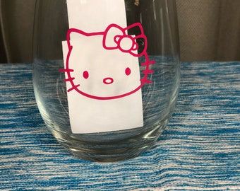 Hello kitty silhouette stemless wine glass