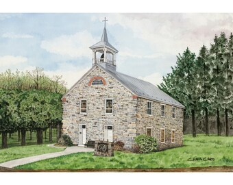 St. John's Lutheran Church - Art Print, Watercolor Painting