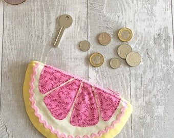 Slice of Pink Grapefruit Coin Purse