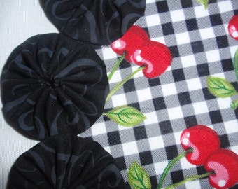 Red Cherries on Black Gingham Yo Yo Doily Mat penny rug style for candles, home decor items