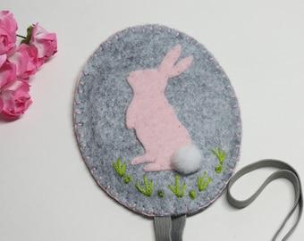 Rabbit bookmark, planner band rabbit, pregnancy journal band, elastic bookmark rabbit, rabbit felt bookmark, notebook elastic band, rabbit