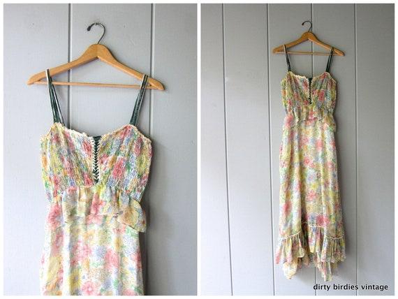 70s Fairy Tale Gunne Sax Dress Romantic Floral Dress Corset Ruched Sundress Long Tiered Sun Dress Flower Print Boho Dress Womens Small