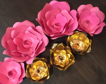 Pink and Gold Paper flowers