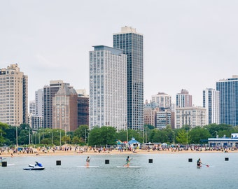 View of North Avenue Beach in Chicago, Illinois. Photo Print, Metal, Canvas, Framed.