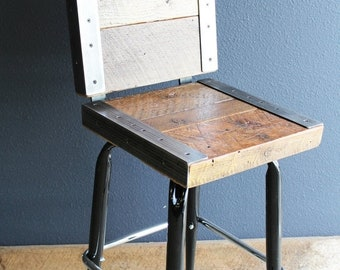 Limited Time Sale 10% OFF Industrial stool with back made with old reclaimed barn wood