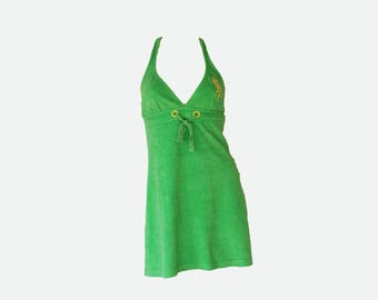 Y2k Polo Sport Bright Green Yellow Embroidered Mini Halter Dress