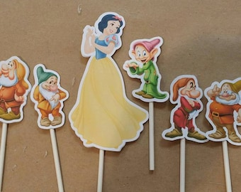 snow white and the seven dwarfs snow white cake topper decorations for the cake 8 pieces in cardboard double 210 gr
