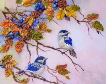"""Ribbon embroidery for Aida only, two big pictures """"Autumn"""", images for order in silk ribbon embroidery, birds, autumn landscape, woodland"""