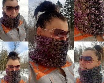 FREE SHIPPING! Crochet Lotus Jasmine Lotus Star Puff Cowl - Facegard - Sparkle Cowl - Crochet Neckwarmer - Crochet Cowl Scarf