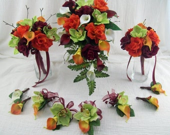 Fall Wedding Flowers Destination Wedding Cascade Bridal Bouquet Orchids Roses and Real Touch Calla lilies Silk Flower Bridal Package