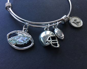 PHILADELPHIA EAGLES Adjustable Stainless Steel Bangle Bracelet with Logo Charm, Football, Helmet and Initial Charm