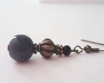 Earrings Bronze - Black 010