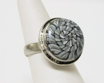 Black White Grey Twisted Spiral Cocktail Ring  Adjustable Ring Polymer Clay Jewelry, Geometric Abstract Whimsical Fun Jewelry