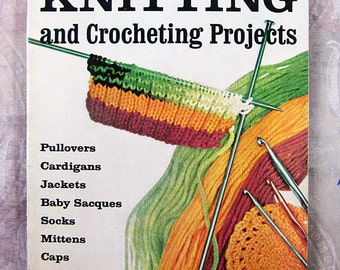 vintage Woman's Day Knitting and Crocheting Projects - 1962 softcover book - 60's knitwear patterns