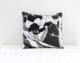 Monochrome cushion cover, grey purple white, Ikea Janette fabric, decorative pillow cover, modern floral pillow, handmade in the UK