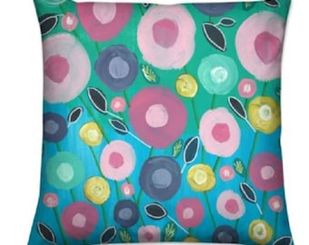 """Floral Throw Cushions """"Summer Blooms"""" Limited Edition Print by Cat Murphy - 40 cm"""