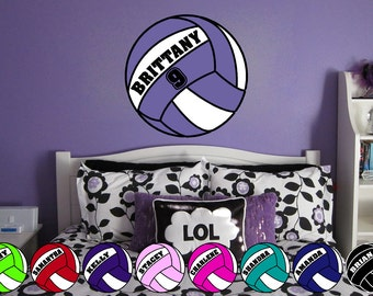 Personalized Volleyball Vinyl Wall Decal Sticker Many Colors
