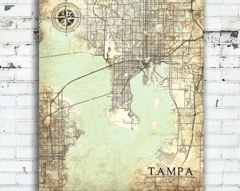 TAMPA FL Canvas Print Florida Tampa Fl Vintage map Tampa fl City Florida Vintage Wall Art bedroom art poster retro old wall art map gift