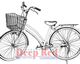Deep Red Rubber Stamp Girls Retro Vintage Bike with Basket