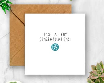 Button Congratulations It's a Boy Card, Baby Card, Baby Boy Card, Card for Baby, It's a Boy, Baby Boy, Cute Baby Card, New Baby Card