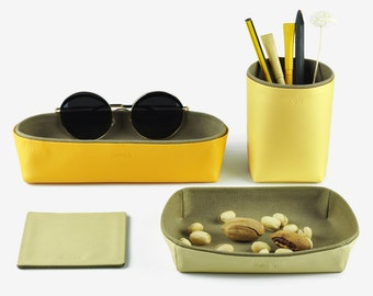 Desk Organization, Desk Organizer, Desk Set - Pencil Holder, Storage Box, Tray, Coaster, Set of 4 Items, Yellow
