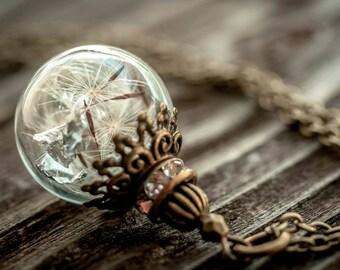 ON SALE!! Dandelion necklace, dandelion jewelry, necklace, terrarium, real dandelion, wish necklace, dandelion art, easter gift, memorial