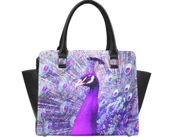 Elegant peacock and feathers handbag in royal purple, shoulder bag, cross body, bird print, photo, inside pocket purse