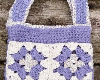 Girl's Crochet Purple Purse Tote with Granny Square Pockets