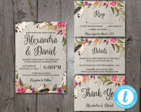 Floral bohemian wedding invitation template set rsvp floral bohemian wedding invitation template set rsvp details bonus thank you card instant download edit in our web app boho chic stopboris Images