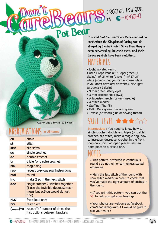 PDF PATTERN : Don\'t Care Bear amigurumi plush - marijuana crochet ...