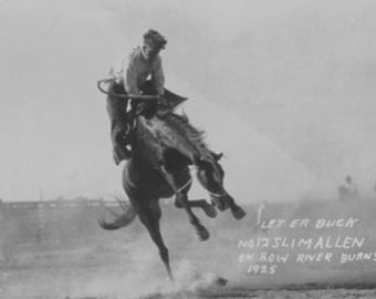 Cowboy riding Bronco in Burns, OR Rodeo Photograph (Art Prints available in multiple sizes)