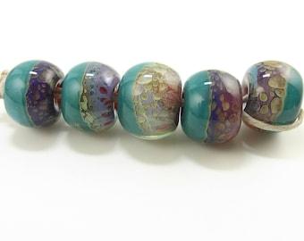 Aqua Pink Boro Round Handmade Lampwork Beads - Prima Donna Beads