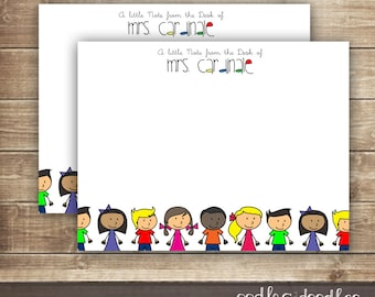 Teacher Gifts, Personalized Teacher Stationery, Teacher Note Cards, Back to School, Children's Stationery, Printable Digital File or Printed