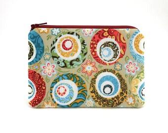 Floral Zipper Pouch - Coin Purse - Small Wallet - Flowers Change Purse - Womens Wallet - Zipper Bag - Coin Wallet - Padded Pouch