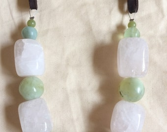 Lovely Rose Quartz, green Jade and Fluorite necklace