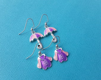 April Showers Set - Pink and Purple . Earrings