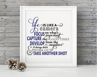Life is like a camera quote SVG, dxf, and eps digital file - Gift idea for photographer, Him, Her, Art Room, decal, wedding, engagement