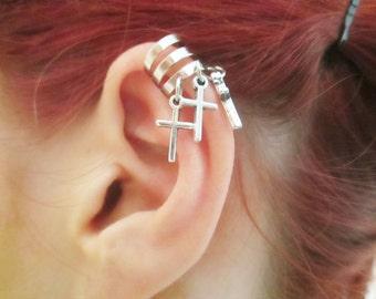 Three crosses ear cuff wrap earring