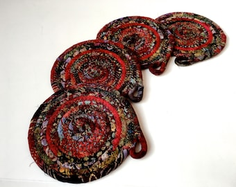 Clothesline Coiled Rope Coasters  Set of 4  Country Deep Red   Handmade Large Drink Coasters  OOAK Fiber Art  Absorbent Drink Coasters