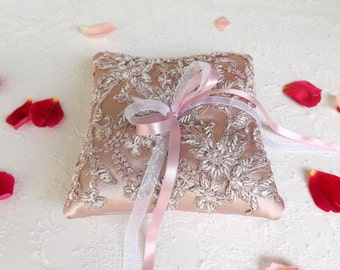 Antique pink Wedding ring pillow. Embroidered floral lace ring bearer