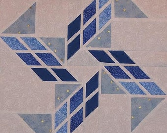 Hurricane paper pieced quilt block PDF pattern