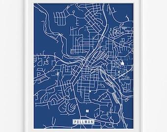 Pullman Print, Washington Poster, Pullman Poster, Pullman Map, Washington Print, Street Map, Washington Map, Fathers Day Gift