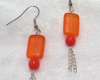 Frosty Orange Earrings  E-071