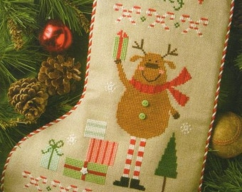 LIZZIE*KATE Reindeer Stocking counted cross stitch patterns INCLUDES buttons Christmas Stocking